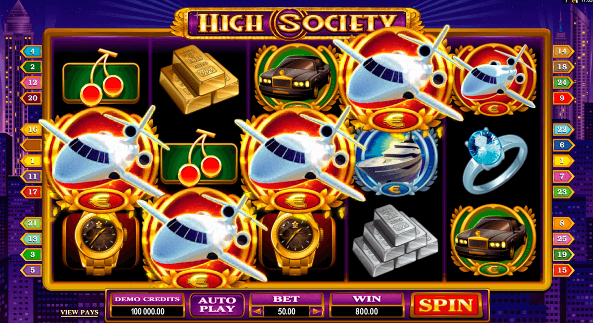 high society microgaming slot machine