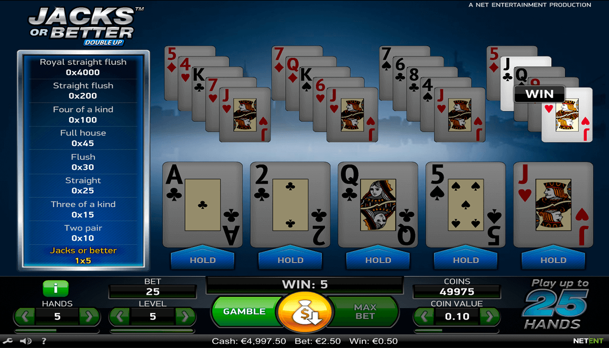 jacks or better netent online poker