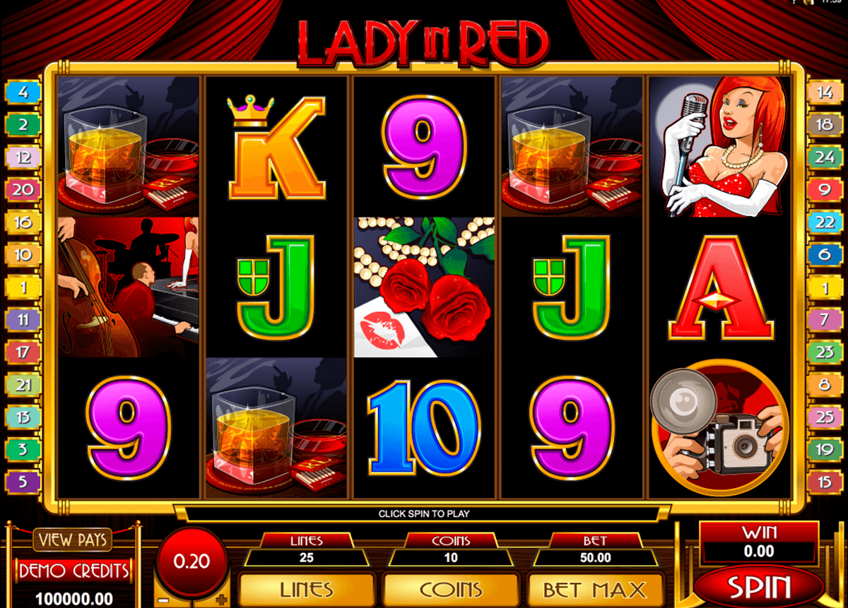 lady in red microgaming slot machine