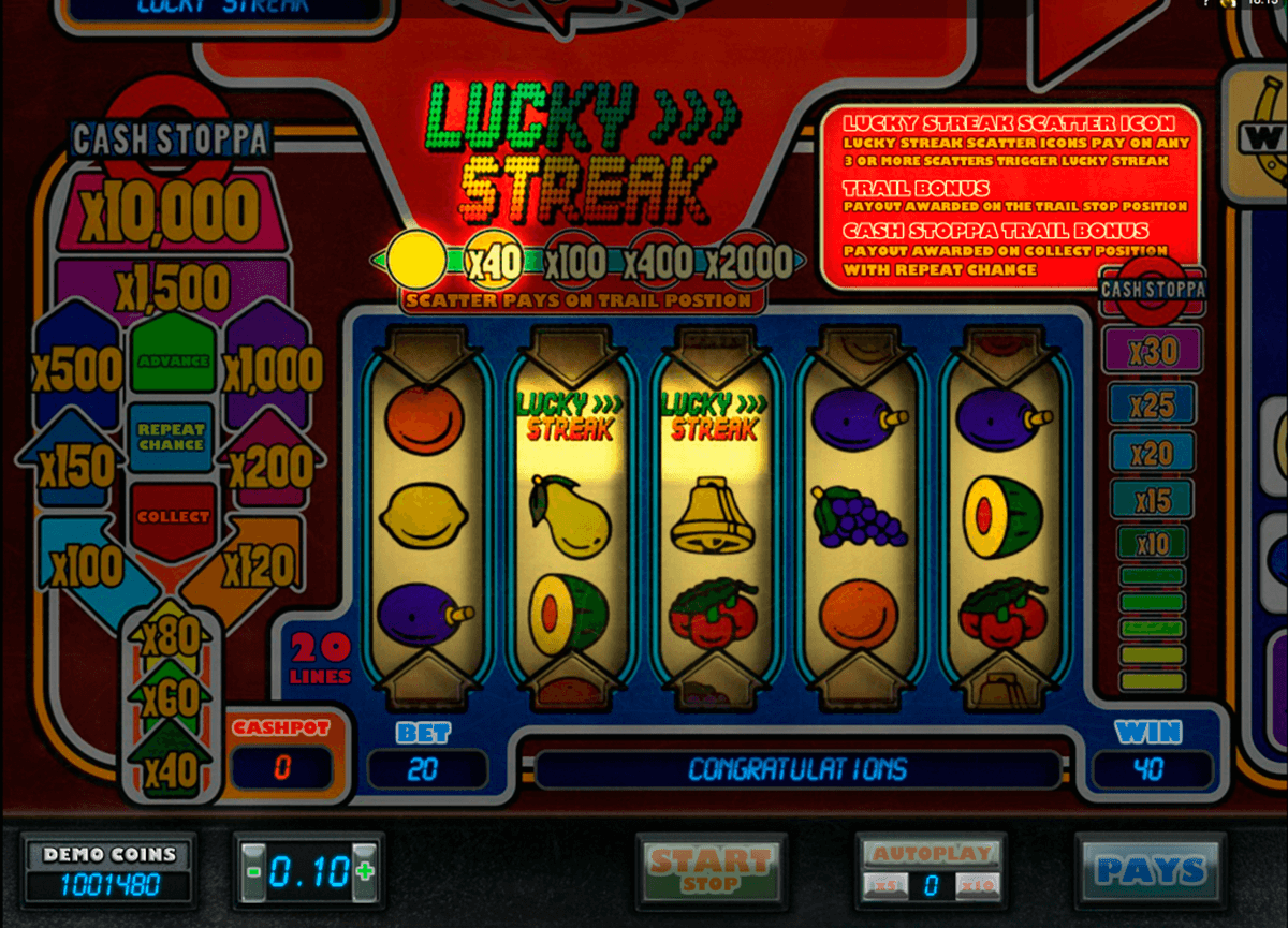 lucky streak microgaming slot machine