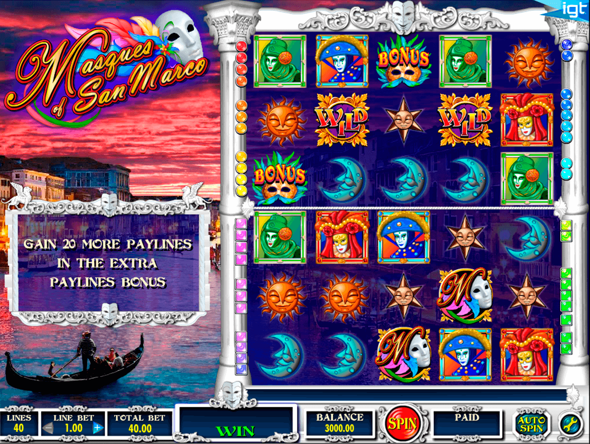 masques of san marco igt slot machine