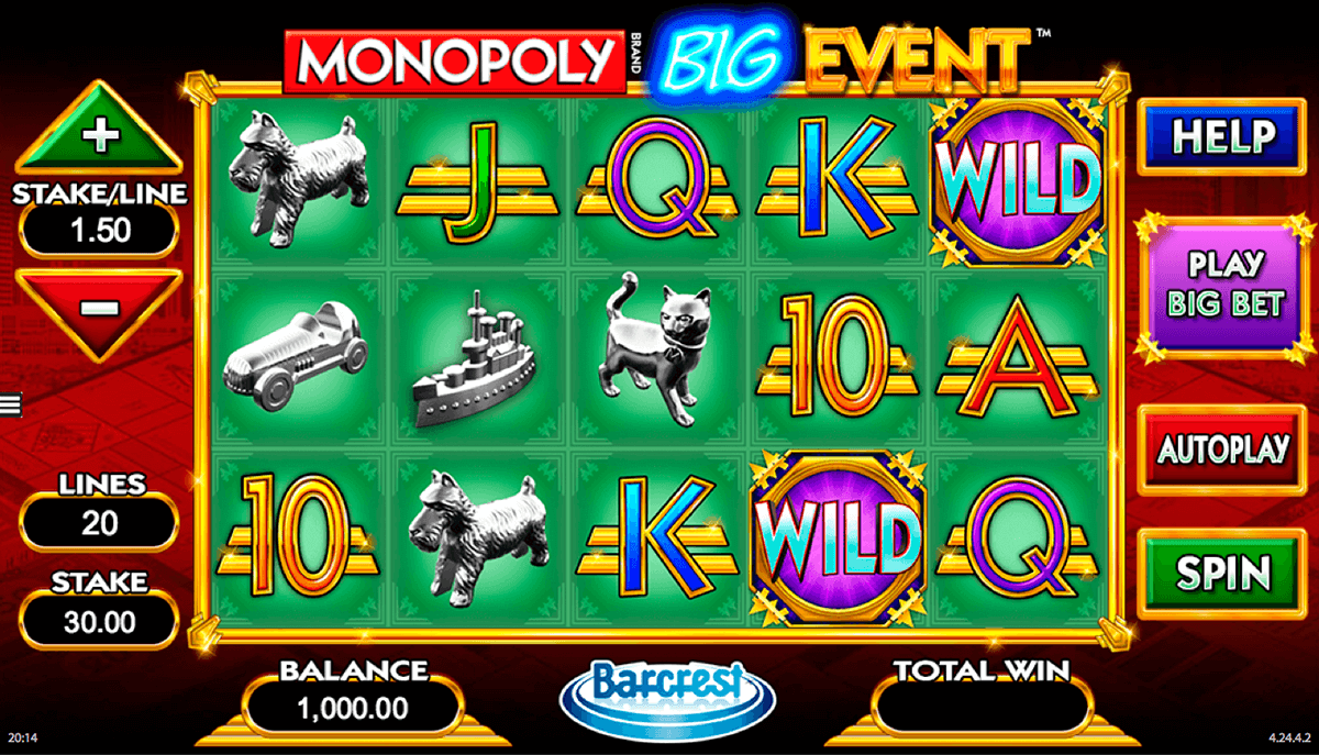 monopoly big event wms slot machine
