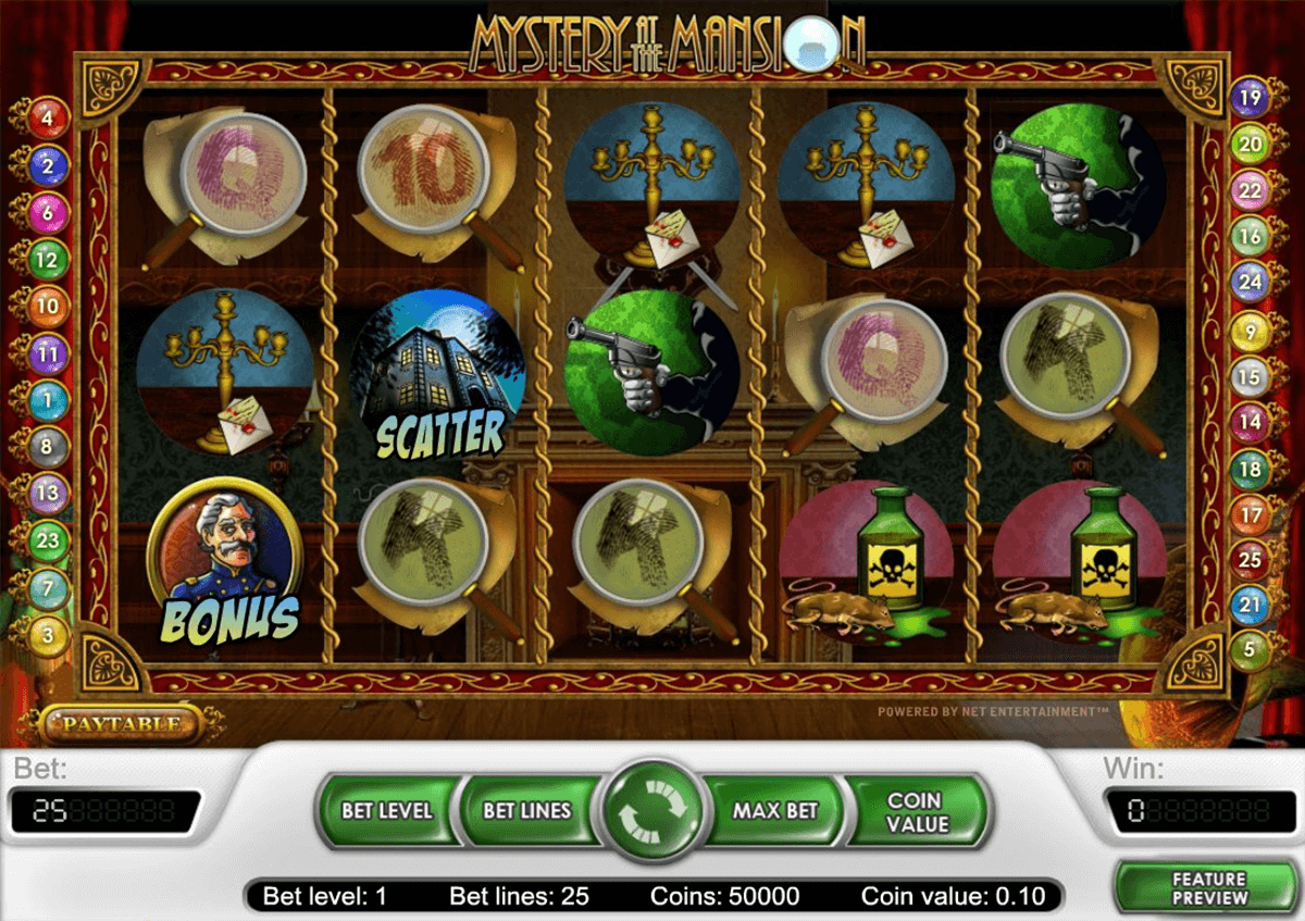 mystery at the mansion netent slot machine
