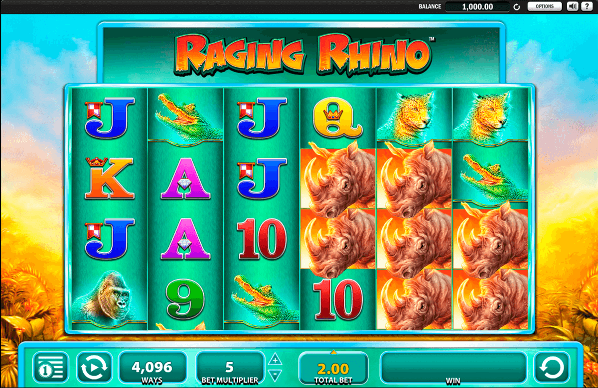 raging rhino wms slot machine